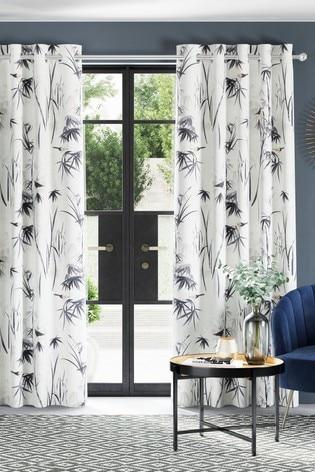 Monochrome Chinoiserie Bird Print Eyelet Curtains