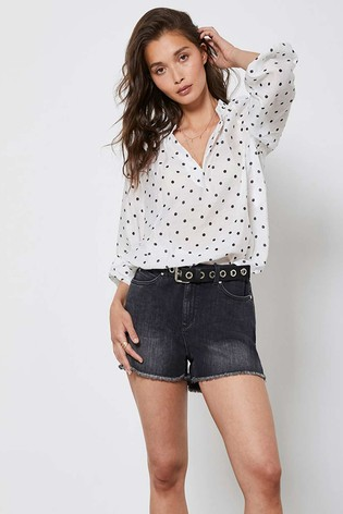 Mint Velvet Black Frayed Hem Denim Shorts