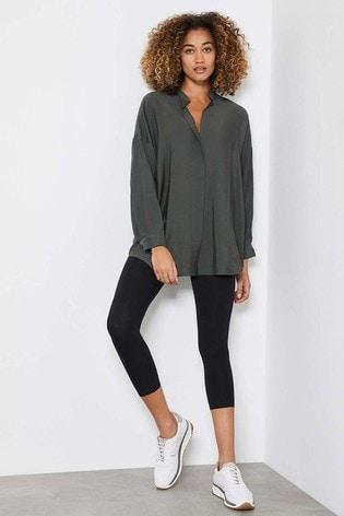 Mint Velvet Khaki Oversized Longline Shirt