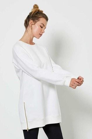Mint Velvet Off-White Long Zip Sweatshirt