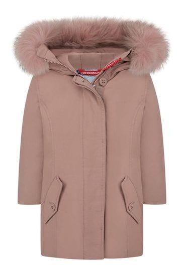 Girls Pink Cotton Down Padded Jacket