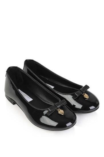 Girls Black Patent Leather Ballerinas