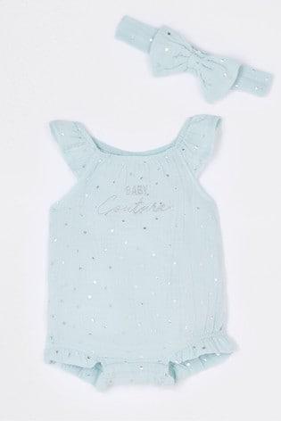 River Island Green Light Baby Couture Metallic Romper
