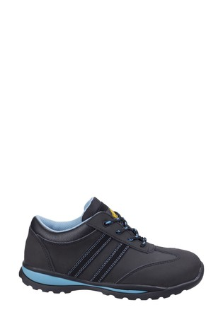 Ambers Safety Black Womens Lace-Up Safety Trainers