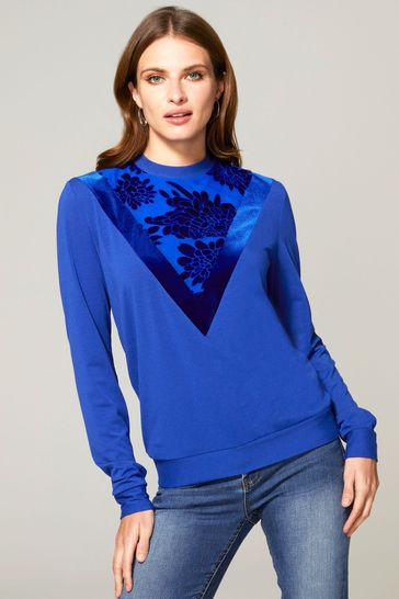 HotSquash Blue Sweater Top With Velvet