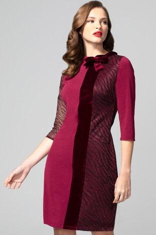 HotSquash Red Princess Seam Dress With Velvet
