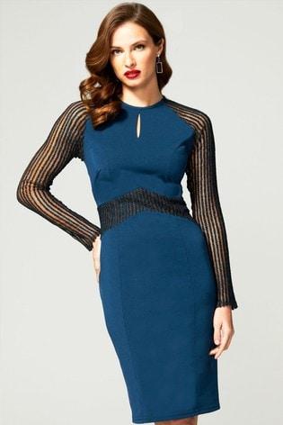 HotSquash Blue Lace Sleeve Keyhole Detail Dress