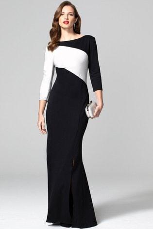 HotSquash Black Maxi Dress With Contrast Sash
