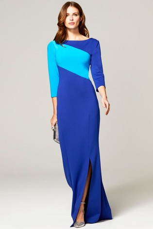 HotSquash Blue Maxi Dress With Contrast Sash
