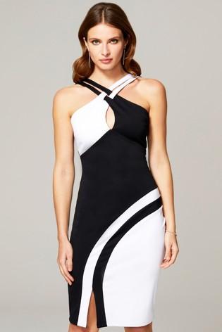 HotSquash Black Halter Neck Colour Contrast Dress