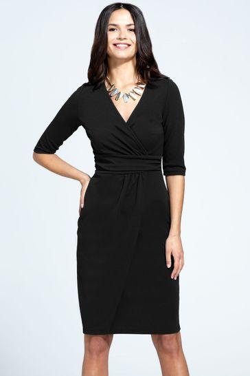 HotSquash Black Ascot Mock Wrap Dress