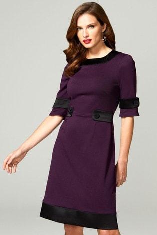 HotSquash Purple 60s Dress With Contrast Hem