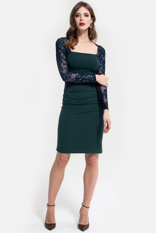 HotSquash Green Lace Sleeve Hostess Dress