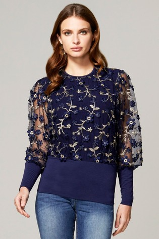HotSquash Blue Blouson Sleeved Embroidered Top