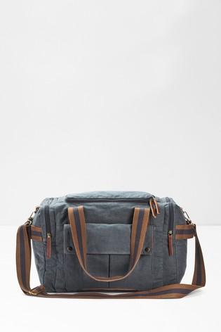 White Stuff Blue Emmet Organic Cotton Weekender Bag