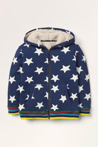 Boden Navy Shaggy-Lined Zip-Up Hoody
