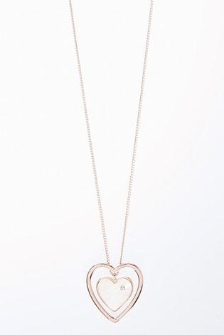 Rose Gold Tone Heart Pendant Long Necklace