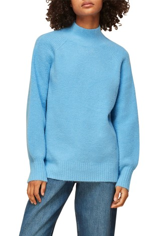 Whistles Blue High Neck Knitted Jumper