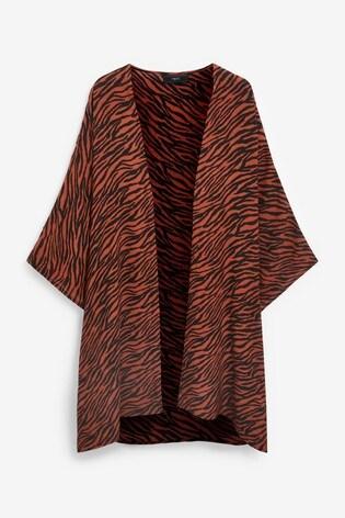 Brown Tiger Print Longline Kimono