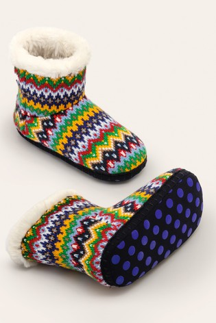 Boden Blue Knitted Slipper Boots