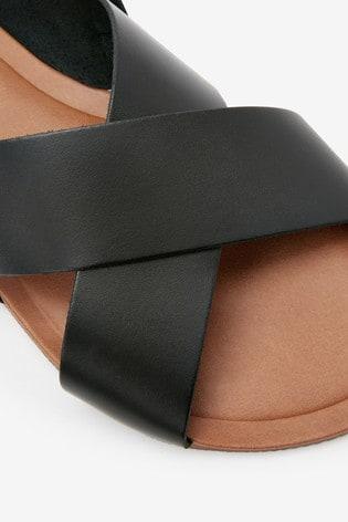 Black Extra Wide Fit Forever Comfort® Cross Front Slingback Sandals