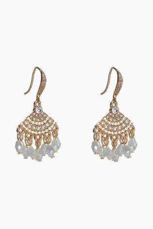 Gold Tone Beaded Drop Sparkle Earrings