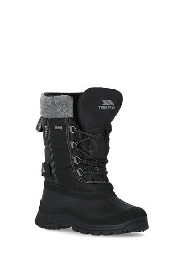 Trespass Black Strachan - Youths Snow Boots