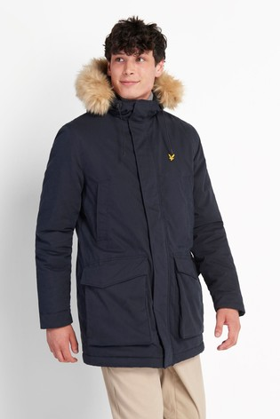 Lyle & Scott Navy Winter Weight Microfleece Lined Parka
