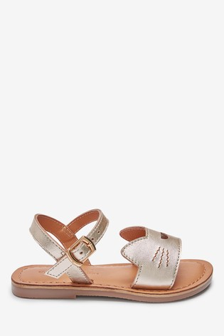 Gold Cat Leather Buckle Sandals (Younger)