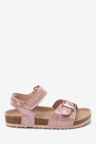 Rose Gold Glitter Buckle Sandals (Younger)