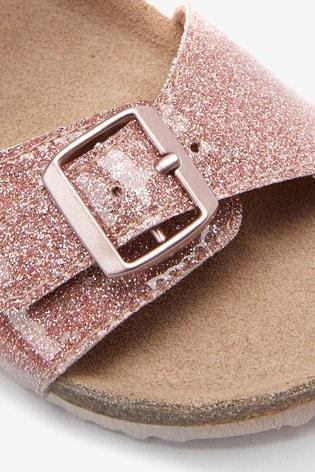 Rose Gold Glitter Buckle Sandals
