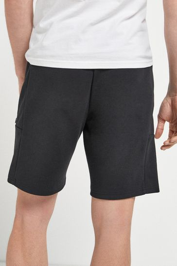 Black Jersey Shorts With Zip Pockets