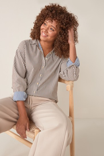 Brown Double Stripe Casual Shirt