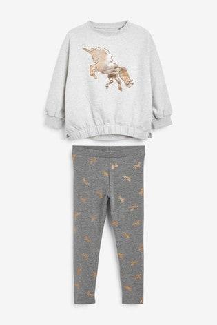 Grey Foil Unicorn Leggings Set (3-16yrs)