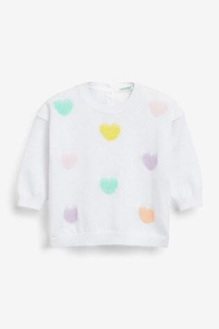 Benetton White Heart Jumper