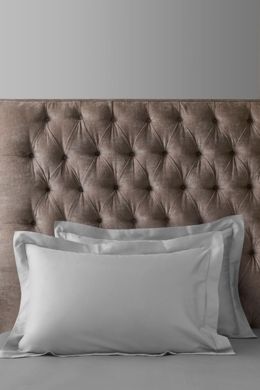Set of 2 Silver Grey 300 Thread Count Collection Luxe 100% Cotton Pillowcases