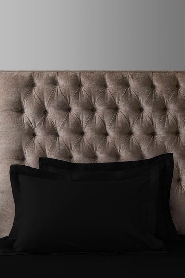 Set of 2 Black 300 Thread Count Collection Luxe 100% Cotton Pillowcases