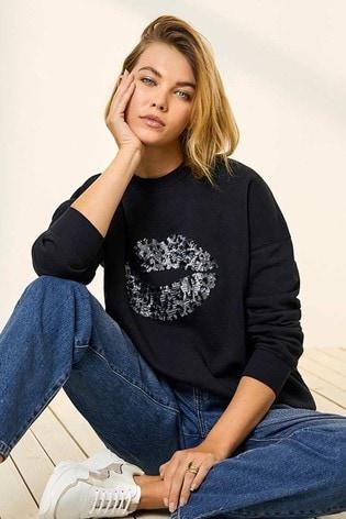 Mint Velvet Navy Leopard Lips Sweatshirt