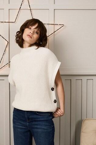 Mint Velvet Cream Knitted Buttoned Tabard