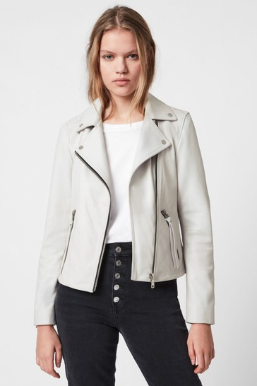 AllSaints White Dalby Leather Jacket