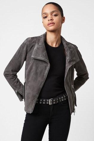 AllSaints Grey Ellis Suede Biker Jacket