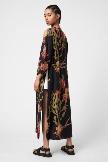 AllSaints Black Carine Nolina Print Kimono