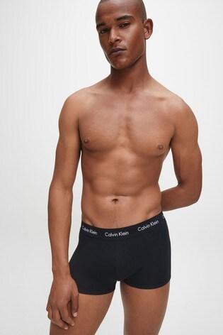 Calvin Klein Black Cotton Stretch Low Rise Trunks 3 Pack
