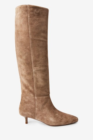 Taupe Suede Forever Comfort® Kitten Heel Long Boots