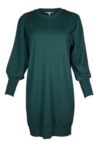 Oliver Bonas Green Pleat Shoulder Knitted Jumper Dress