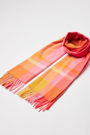 Oliver Bonas Orange Soft Check Bright Scarf