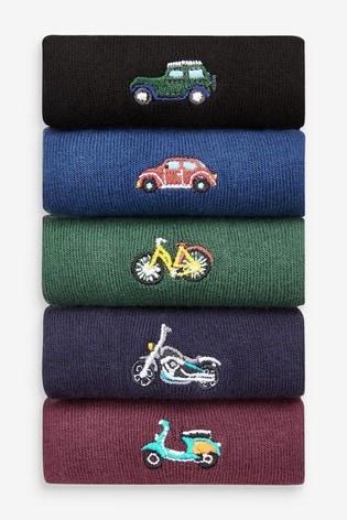 Multicolour Transport Embroidered Socks 5 Pack