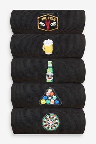 Black Pub Embroidered Socks 5 Pack