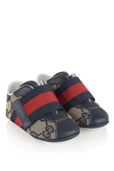 Baby Navy GG Velcro Strap Pre Walker Shoes
