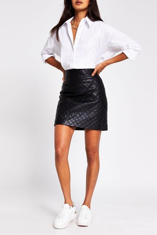 River Island Black Diamond Quilt Leather Skirt